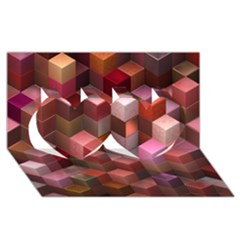 Artistic Cubes 9 Pink Red Twin Hearts 3D Greeting Card (8x4)