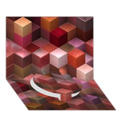 Artistic Cubes 9 Pink Red Circle Bottom 3D Greeting Card (7x5)