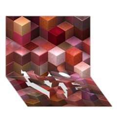 Artistic Cubes 9 Pink Red Love Bottom 3d Greeting Card (7x5)