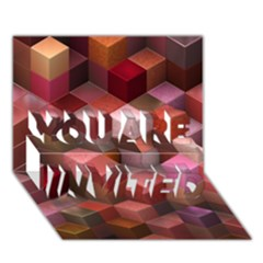 Artistic Cubes 9 Pink Red You Are Invited 3d Greeting Card (7x5)