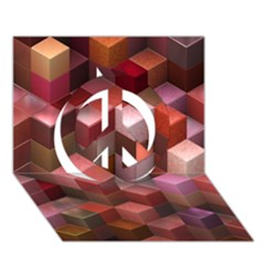 Artistic Cubes 9 Pink Red Peace Sign 3d Greeting Card (7x5)