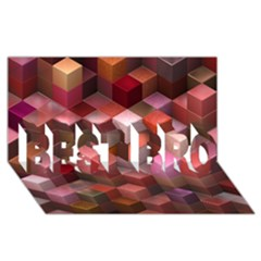 Artistic Cubes 9 Pink Red Best Bro 3d Greeting Card (8x4)