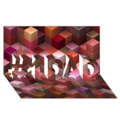Artistic Cubes 9 Pink Red #1 Dad 3d Greeting Card (8x4)