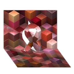 Artistic Cubes 9 Pink Red Ribbon 3d Greeting Card (7x5)