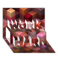 Artistic Cubes 9 Pink Red WORK HARD 3D Greeting Card (7x5)