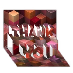 Artistic Cubes 9 Pink Red THANK YOU 3D Greeting Card (7x5)