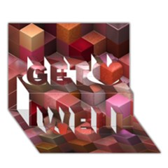 Artistic Cubes 9 Pink Red Get Well 3D Greeting Card (7x5)