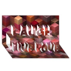 Artistic Cubes 9 Pink Red Laugh Live Love 3D Greeting Card (8x4)