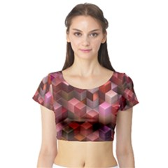 Artistic Cubes 9 Pink Red Short Sleeve Crop Top
