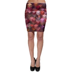 Artistic Cubes 9 Pink Red Bodycon Skirts