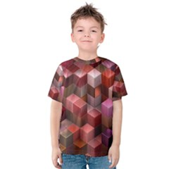 Artistic Cubes 9 Pink Red Kid s Cotton Tee