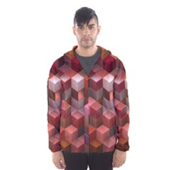 Artistic Cubes 9 Pink Red Hooded Wind Breaker (men)