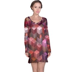 Artistic Cubes 9 Pink Red Long Sleeve Nightdresses