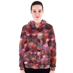 Artistic Cubes 9 Pink Red Women s Zipper Hoodies