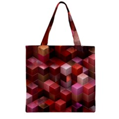 Artistic Cubes 9 Pink Red Zipper Grocery Tote Bags