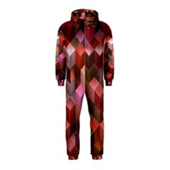 Artistic Cubes 9 Pink Red Hooded Jumpsuit (kids)