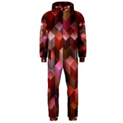 Artistic Cubes 9 Pink Red Hooded Jumpsuit (Men)