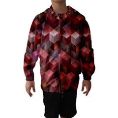 Artistic Cubes 9 Pink Red Hooded Wind Breaker (kids)