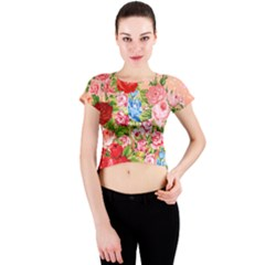 Pretty Sparkly Roses Crew Neck Crop Top