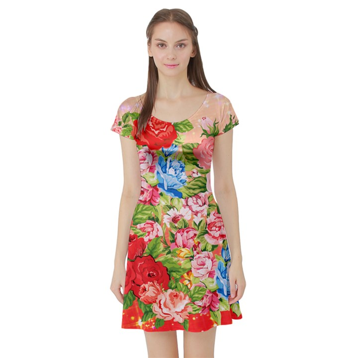 Pretty Sparkly Roses Short Sleeve Skater Dresses