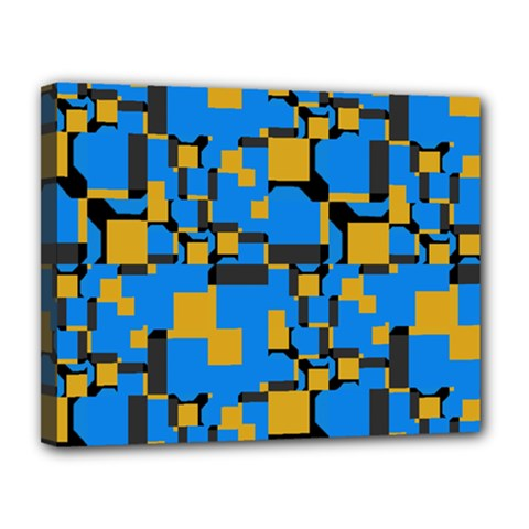 Blue yellow shapes Canvas 14  x 11  (Stretched)