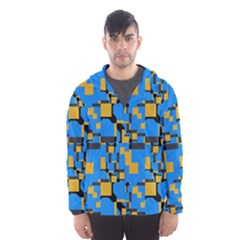 Blue yellow shapes Mesh Lined Wind Breaker (Men)