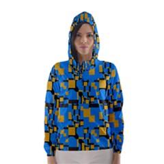 Blue yellow shapes Hooded Wind Breaker (Women)
