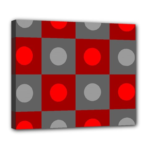 Circles in squares pattern Deluxe Canvas 24  x 20  (Stretched)