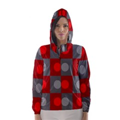 Circles In Squares Pattern Hooded Wind Breaker (women)