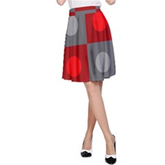 Circles in squares pattern A-line Skirt