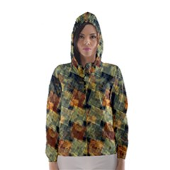 Stars circles and squares Hooded Wind Breaker (Women)