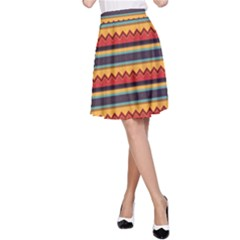 Waves And Stripes Pattern A Line Skirt