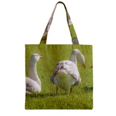 Group of White Geese Resting on the Grass Zipper Grocery Tote Bags