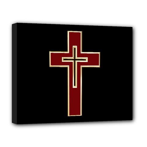 Red Christian cross Deluxe Canvas 20  x 16  (Stretched)
