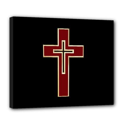Red Christian cross Deluxe Canvas 24  x 20  (Stretched)