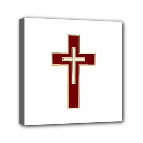 Red Christian cross Mini Canvas 6  x 6  (Stretched)