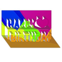 Geo Fun 15 Happy Birthday 3d Greeting Card (8x4)