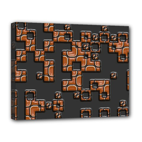 Brown pieces Canvas 14  x 11  (Stretched)
