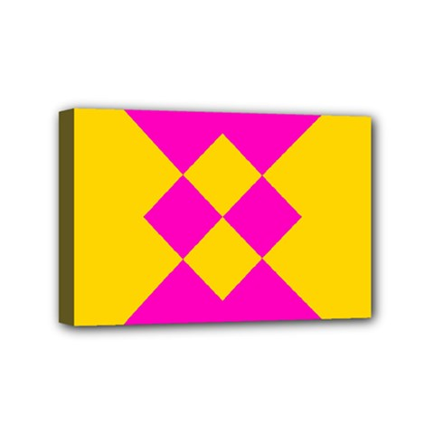 Yellow pink shapes Mini Canvas 6  x 4  (Stretched)