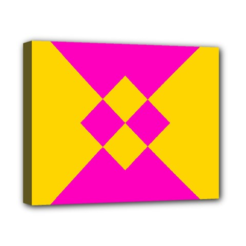 Yellow Pink Shapes Canvas 10  X 8  (stretched)