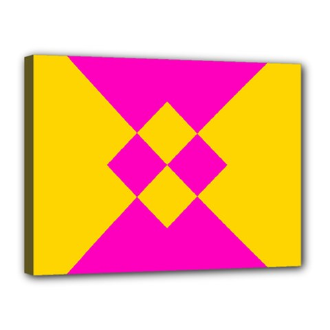 Yellow pink shapes Canvas 16  x 12  (Stretched)