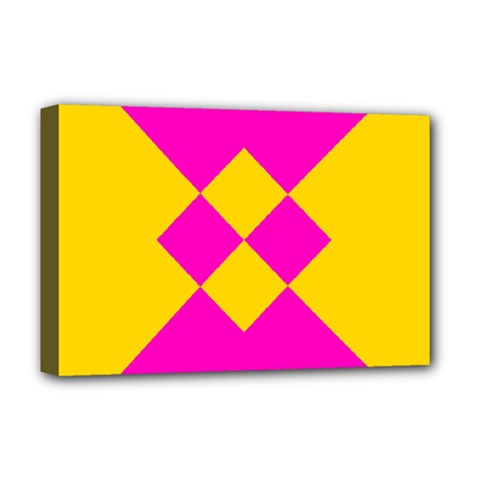 Yellow pink shapes Deluxe Canvas 18  x 12  (Stretched)