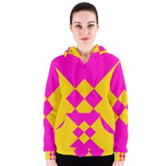 Yellow pink shapes Women s Zipper Hoodie