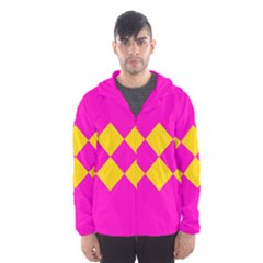 Yellow pink shapes Mesh Lined Wind Breaker (Men)