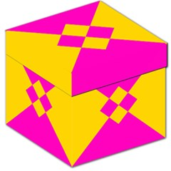 Yellow Pink Shapes Storage Stool