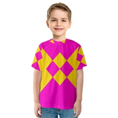 Yellow pink shapes Kid s Sport Mesh Tee