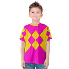 Yellow pink shapes Kid s Cotton Tee