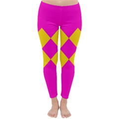 Yellow pink shapes Winter Leggings