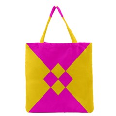 Yellow pink shapes Grocery Tote Bag