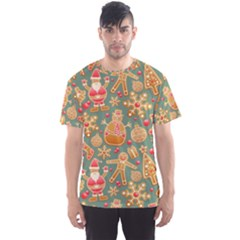 Santa and Friends Pattern Men s Sport Mesh Tees